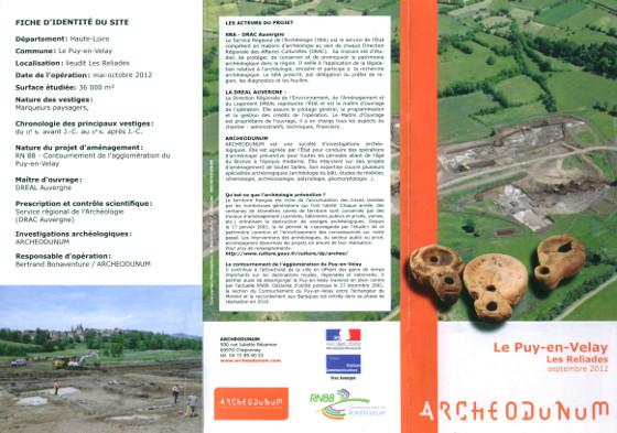 Plaquette presentation - Fouilles les Reliades - 2012