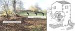 A gauche : Vestiges du moulin de Longas et de sa béalière (Dendievel & Bouvard-Mor, 2017). A droite : schéma de restitution du moulin de la Pave à Laroque des Albères (source :http://www.laroque-des-alberes.fr/fr/office-de-tourisme/decouvrir/laroque/le-moulin-de-la-pave.html)